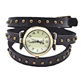 MINILUJIA Bohemian Style Analog Quartz Wrap Around Leather Watch Women Girls Watches with Vintage Bronze Rivet 27mm Dial Black