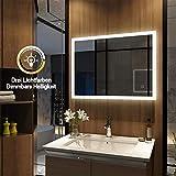 Meykoers Wandspiegel Badezimmerspiegel LED Badspiegel mit Beleuchtung 80x60cm mit Touch Schalter und...