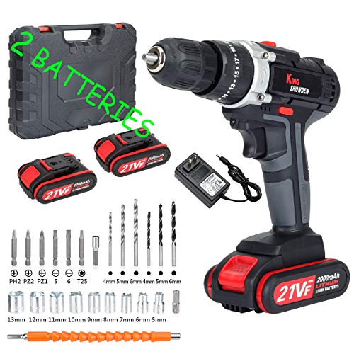 Cordless Drill Driver Kit with 2 battery, King Showden 21V Power Drill 50Nm 25+3 Clutch, 3/8' Keyless Chuck, Variable Speed & Built-in LED Electric Screw Driver for Drilling Wall, Bricks, Wood, Metal