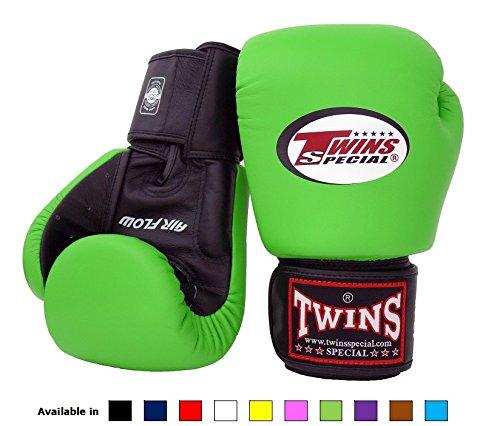 Twins Special Muay Thai Boxhandschuhe Bgvla 2 Air Flow Handschuhe.Univesal Handschuhe für Training oder Sparring (8 Unzen - Schwarz/Grün mit schwarzen Trägern)