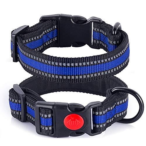 MELERIO Hundehalsband, Weich Gepolstertes Neopren Nylon Hunde Halsband für Welpen Kleine Mittlere Große Hunde, Verstellbare und Reflektierend für das Training