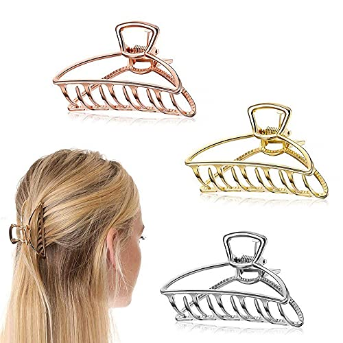 3 Pièces Pinces pour Cheveux, Pinces à Cheveux en Attache Creuse de Cheveux Antidérapante Pince à Mâchoire Femme Pinces à Griffes Épaisses,78 mm(L) x25mm (W)