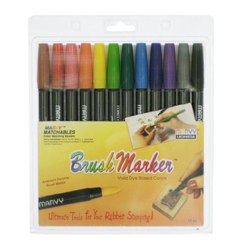 UCHIDA Brush Markers 12/Pkg-Primary