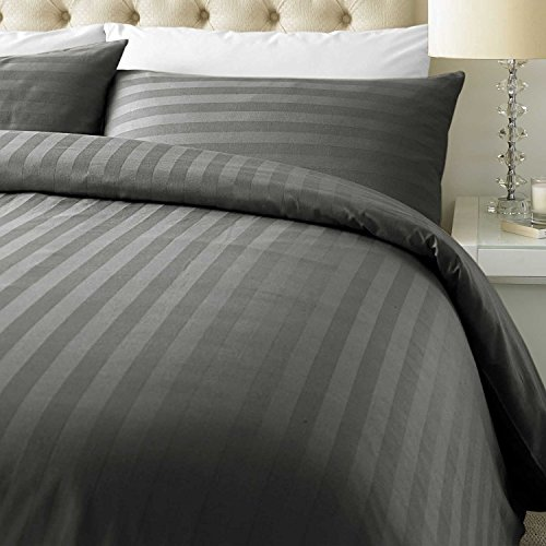 ED Luxurious 800 Thread Count Cotton Rich Satin Stripe Duvet cover with Housewife pillowcases 800 Thread Count (Super King/Steel Grey)