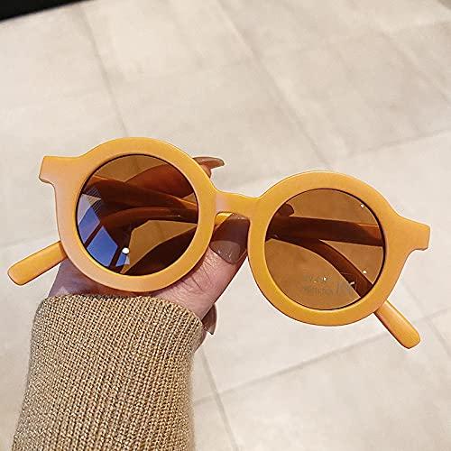 Gafas de Sol Gafas De Sol Redondas De Moda para Niños, Gafas De Sol Vintage para Niños Y Niñas, Gafas De Sol Clásicas con Protección UV, Gafas De Sol para Niños, Yellowtea