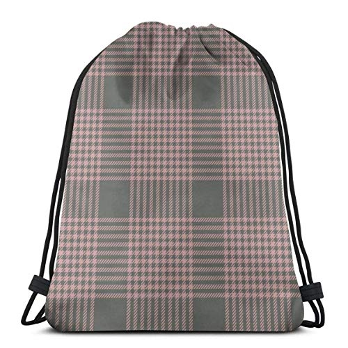 Lsjuee Pink Green Hounds Tooth Check Plaid Drawstring Backpack Workout Bag Pack Cinch for Hiking Yoga Gym Swimming Travel Beach