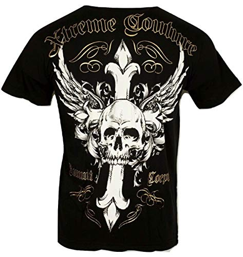 Xtreme Couture by Affliction Men T-Shirt Annuit Skull Cross Tattoo Biker Gym $40 (L) Black