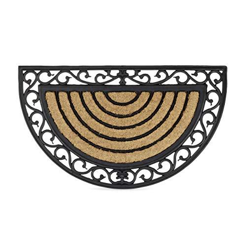 Relaxdays Paillasson fibres de coco 75x45 cm tapis de sol antidérapant demi-rond rayé motifs résistant aux intempéries, noir/nature