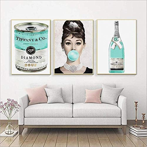 GKZJ Stampe su Tela Colazione da Tiffany Poster Stampe Poster Nordico Audrey Hepburn Wall Art Moda Immagini a Parete per la Decorazione della Camera 3x60x80cm Senza Cornice