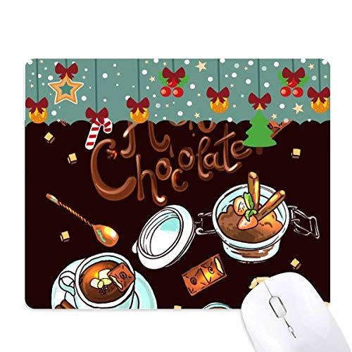 Hete chocolade Desserts drinken Frankrijk Mouse Pad Game Office Mat Kerstmis Rubber Pad