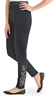Rose Floral Embroidered Jersey-Knit Leggings with Elastic Waist Band, Spring Apparel