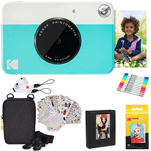 KODAK Printomatic Instant Camera (blauw) geschenkverpakking + zinkpapier (20 vellen) + luxe etui + 7 setstickers + dubbele puntige marker + fotoalbum + hangerframe + schouderband