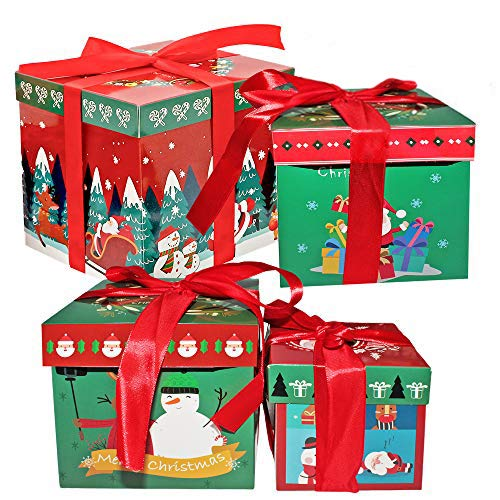 THE TWIDDLERS 8 Boîtes Cadeaux à Thème de Noël - 4 Motifs et Tailles Attrayants - 2 DE Chaque Taille - Parfait pour Les Cadeaux de Noël - Idéal pour Xmas, Les Fêtes de Fin d'Année