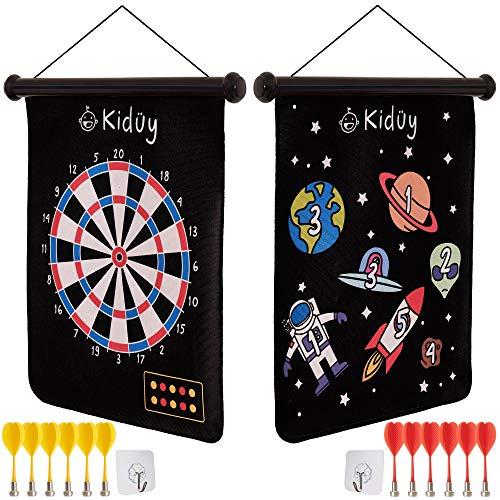 Kidüy Dartspiel-Set für Kinder, magnetische Dartscheibe, 12 sichere Plastikpfeile, wendbares Roll-up-Design, 2 Haken, Tragetasche. Familien-Spiel und Spaß für Drinnen und Draußen; Geburtstagsgeschenk