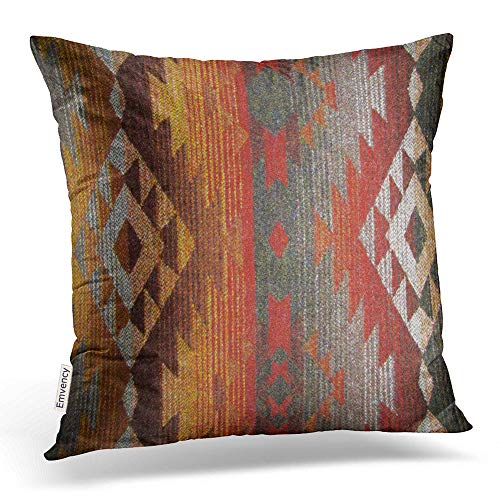 Emvency Square 20x20 Inches Decorative Pillowcase Aztec Navajo Orange Red Grey Tribal Linen Decor Throw Pillow Cover with Hidden Zipper for Bedroom Sofa