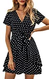 ECOWISH Women's V Neck Polka Dot Ruffles Mini Sexy Dress Short Sleeve Wrap Summer Dresses with Belt Black Medium