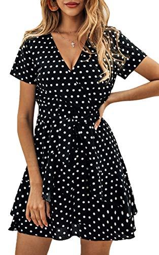 Spec4Y Damen Kleider V Ausschnitt Punkte Sommerkleid Rüschen Kurzarm Minikleid Strandkleid mit Gürtel Schwarz L