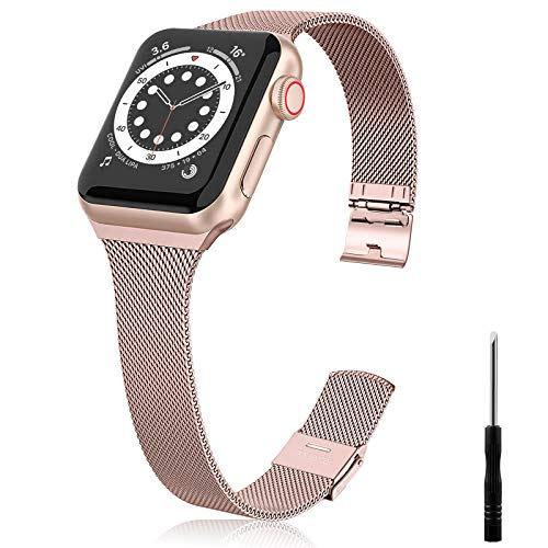 Ouwegaga Correa de Repuesto Compatible con Apple Watch Correa 38mm 40mm 42mm 44mm SE, Clásica Correa de Metal de Acero Inoxidable Compatible con iWatch Series 6 5 4 3 2 1, 42mm/44mm Oro Rosa