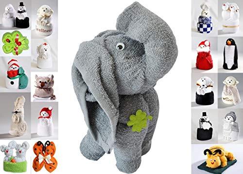 JACK Frottier Geschenk Set viele Modelle Handarbeit Origami Gästetuch Handtuch Waschhandschuh, Motiv/Art:Elefant Grau