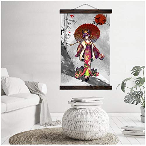 Japanse Kimono Cartoon Girl Vintage Posters Scroll Artwork Schilderen Canvas Art Moderne Muur Foto Schilderen Woondecoratie