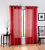 Ruthy's Textile 2 Piece Window Sheer Curtains Grommet Panels 54' X 84' Total 108' X 84' Inch Length for Bedroom/Living Room Color: Red