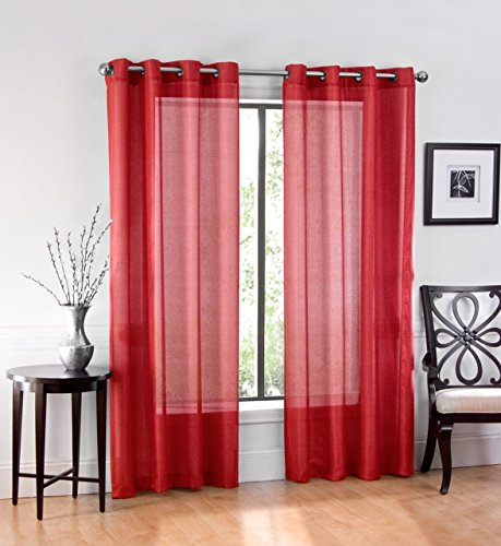 """Ruthy's Textile 2 Piece Window Sheer Curtains Grommet Panels 54"""" X 84"""" Total 108"""" X 84"""" Inch Length for Bedroom/Living Room Color: Red"""