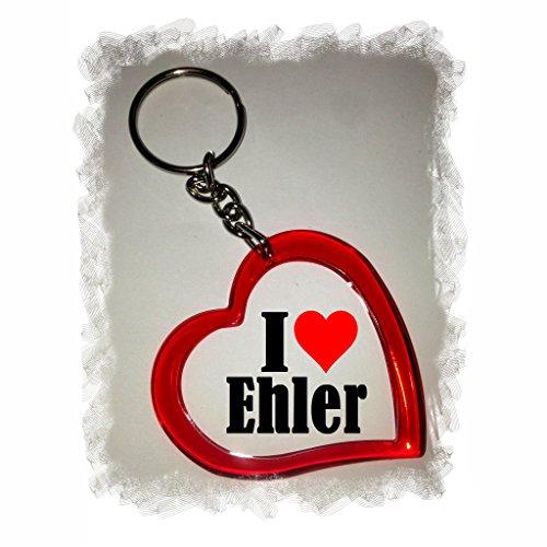 Druckerlebnis24 Herz Schlüsselanhänger I Love Ehler - Exclusiver Geschenktipp zu Weihnachten Jahrestag Geburtstag Lieblingsmensch