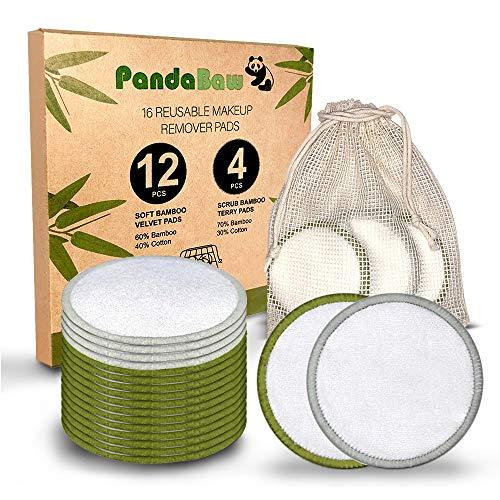 PandaBaw® Abschminkpads waschbar [MIT 4 PEELING-PADS] - 2 Sorten Wattepads wiederverwendbar aus Bambus & Baumwolle - 16 Stück Reusable Cotton Pads Abschminktücher für angenehme Gesichtsreinigung