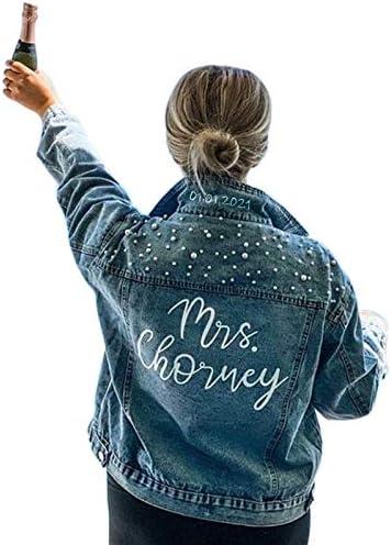 Custom Denim Jacket Houston Mall with Pearls W Mrs. jacket Future Customized Max 66% OFF