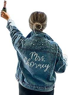 Custom Denim Jacket with Pearls Future Mrs. Customized...