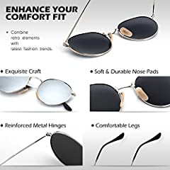 GQUEEN Retro Round Circle Sunglasses Polarised Gold Brown, Vintage Oval Metal Frame Mirrored UV400, MFF7 #2
