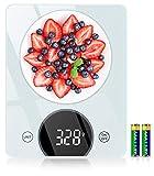 Bilancia da Cucina, Cocoda Bilancia Cucina Digitale da 10kg, con Precisione di 1g/0,05oz e Funzione Tare, Display a LED e Vetro Temperato, 4 Unità Bilance in g e oz per Cucina (2 Batterie Incluse)