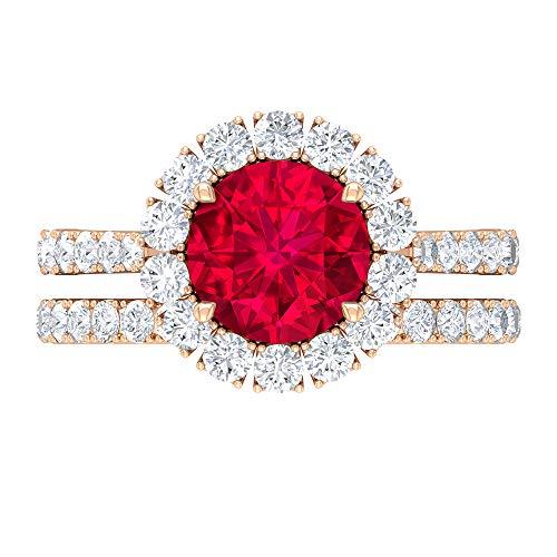 Anillo de halo, conjunto de anillos de novia rubí, piedras preciosas redondas de 3,98 quilates, anillo de solitario D-VSSI Moissanite 8 mm, 14K Oro rosa, Rubí, Size:EU 54