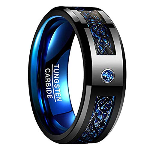 NUNCAD Men's 8mm Blue Tungsten Ring Silver Celtic Dragon Tungsten Carbide Ring Wedding Band Size 13