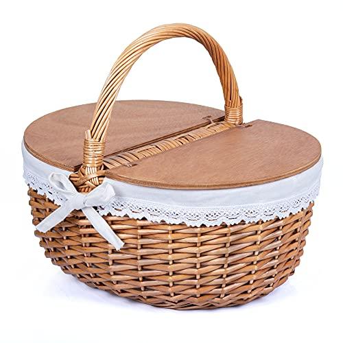 SatisInside Cesta de mimbre para pícnic con tapas de madera y forro lavable, color blanco