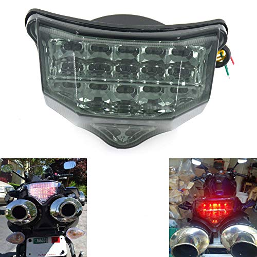 MZS Tail Light LED Integrated Turn Signal Blinker Compatible with Yamaha FZ6 FZ-6 FAZER FZ600 2004 2005 2006 2007 2008 2009 Smoke