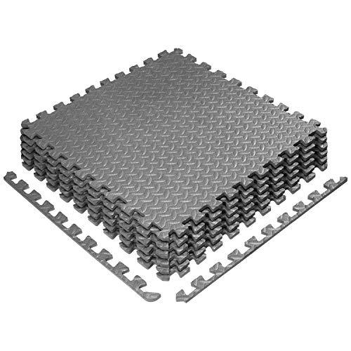 Yes4All Interlocking Floor Mats – Foam Floor Mats/Gym Floor Mats with EVA Interlocking Tiles 24 Square Feet – Gray – 6 Tiles