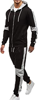 Men Tracksuits Casual Jogger Set Long Sleeve Full Zip Hoodie Sweatshirt Joggers Pant Sportsuit