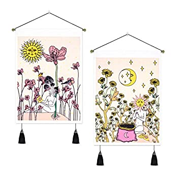 Pack of 2 Tapestry Flowers Tapestries Sun and Moon Tapestry Floral Tapestry Women Tapestry Wall Hanging for Room  13.8 x 19.7 inches