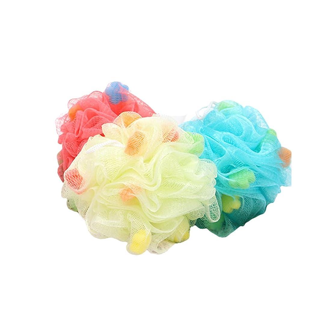 キャンパスブローホールベールHealifty ボディースポンジ 泡立てネット フラワーボール シャワー用 バス用品 背中も洗える メッシュ ボディ洗い 泡肌美人(ランダム色)3個