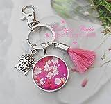 SchlüsselAnhänger Buddha Quaste rosa pink Yoga Meditation CabochonFassung Blumen Esotherik Boho Karabiner Schlüsselring