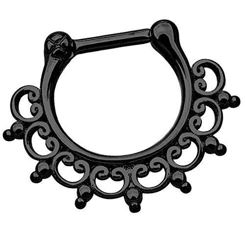 Piersando Piercing Scharnier Clicker Ring Tribal Spikes Spitzen mit Herzen Ornament Vintage Septum für Tragus Helix Ohr Nase Lippe Brust Intim Schwarz