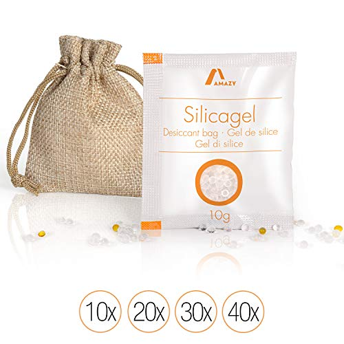 Amazy Silica Gel Beutel (10 x 10 g) inkl. Jutebeutel und Indikatorkugeln – Vakuumverpacktes Kieselgel als Trockenmittel (regenerierbar) für das Binden von Feuchtigkeit– schützt vorFeuchte und Muff