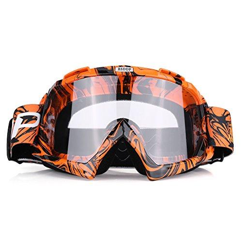 Qiilu Gafas Protección de moto para Motocross Esqui Deporte Ciclismo Carretera(naranja-blanco)