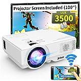 WiFi Mini Projector, Jinhoo M10 2019 Latest Update 3500 Lux [100' Projector Screen Included] HD Home...