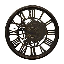 IMPORTED GIFT DEPOT Steampunk Style Skeleton Wall Clock with Roman Numerals