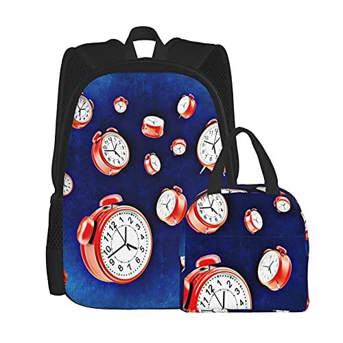 Reloj despertador mochila escolar+bolsa de almuerzo 2 piezas, mochila portátil y bolsa de cosméticos y mochila escolar combinación para niñas y niños