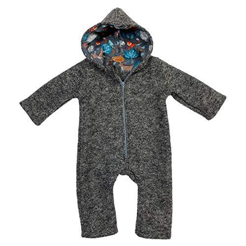Lilakind Baby Wollwalk Overall mit Kapuze und Reißverschluss  Kleinkind Walkoverall  Made in Germany Grau Meliert Winter Wald Gr. 98/104