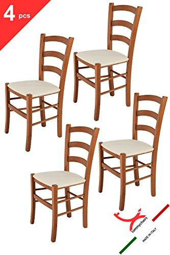 Tommychairs sillas de Design - Set 4 sillas Modelo Venice para Cocina, Comedor, Bar y Restaurante, con Estructura en Madera Color Cerezo y Asiento tapizado en Tejido Color Marfil