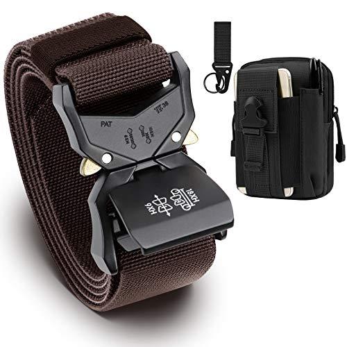 BESTKEE Cinturón táctico para Hombres, 3.8cm Cinturón Resistente, Cinturón Nylon Hebilla de Metal de Liberación Rápida, Regalo con Bolsa Táctica Molle y Gancho